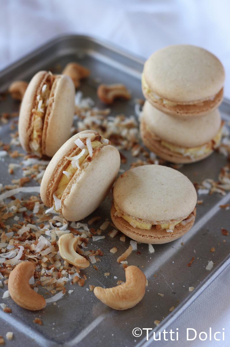 Mango, Cashew & Toasted Coconut Macarons | Tutti Dolci