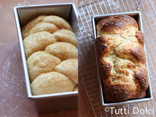 Left: Brioche with egg wash; Right: Cooling brioche