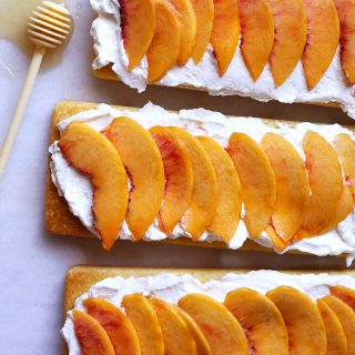 lemon peach cake with honey whipped cream