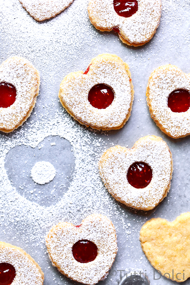 Brown Butter Linzer Heart Cookies