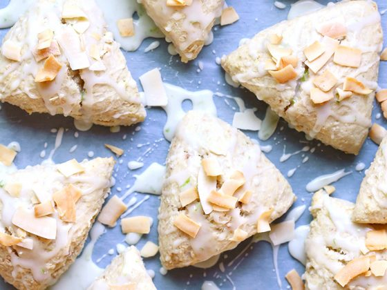 Coconut Cream Scones with Lime Glaze