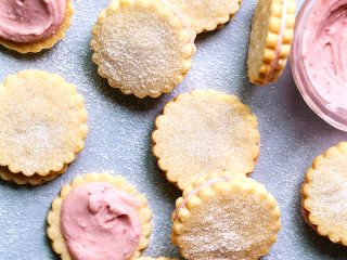 Strawberry Cream Sandwich Cookies