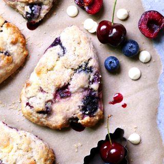 Cherry-Blueberry Cream Scones