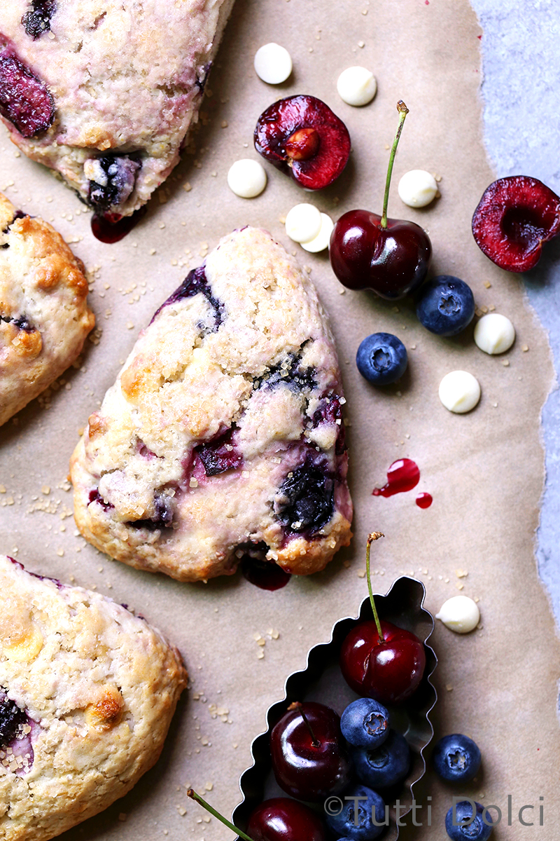Cherry-Blueberry Cream Scones