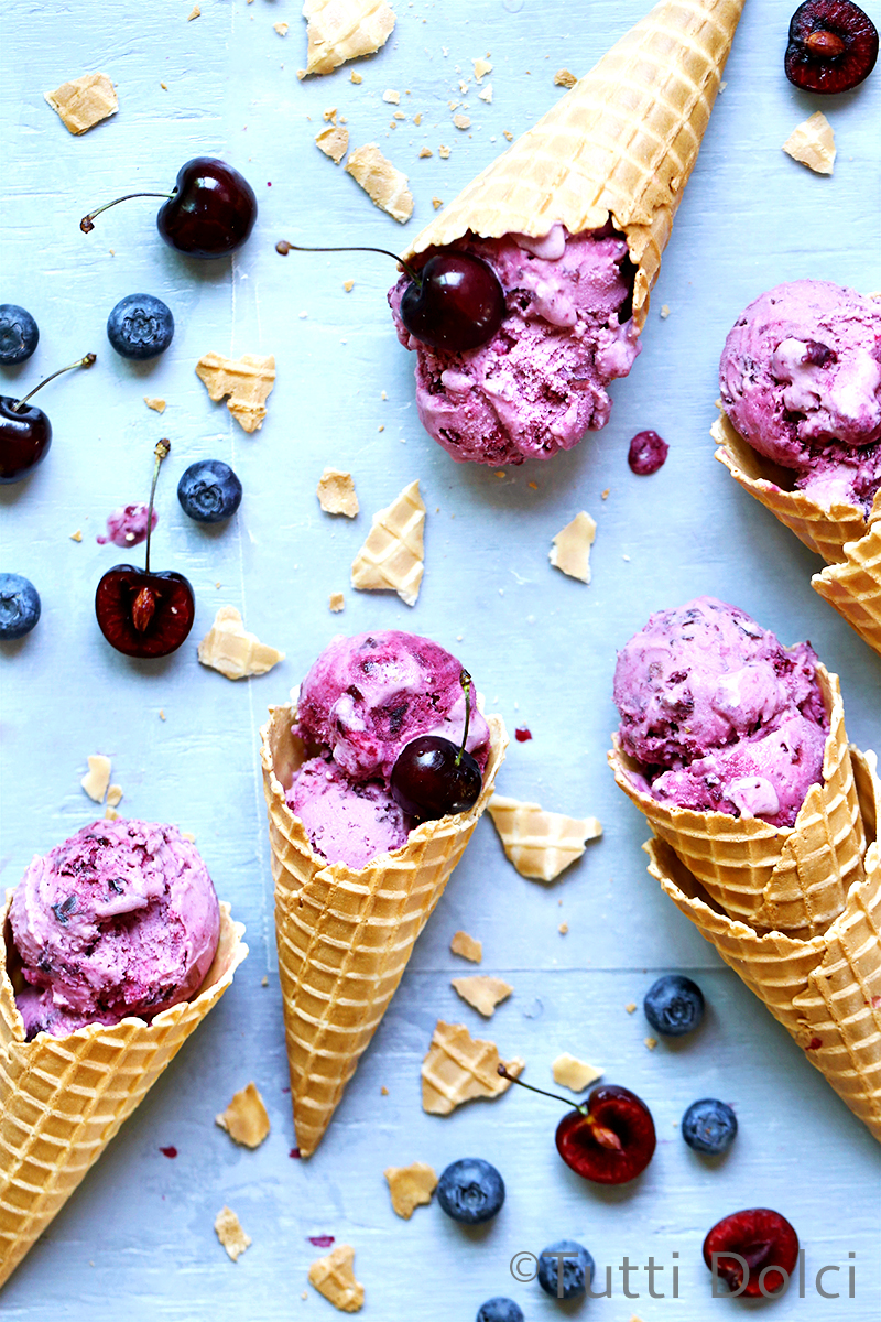 Cherry Blueberry Amaretto Ice Cream