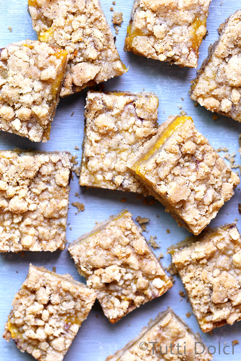 Brown Butter Peach Crumb Bars