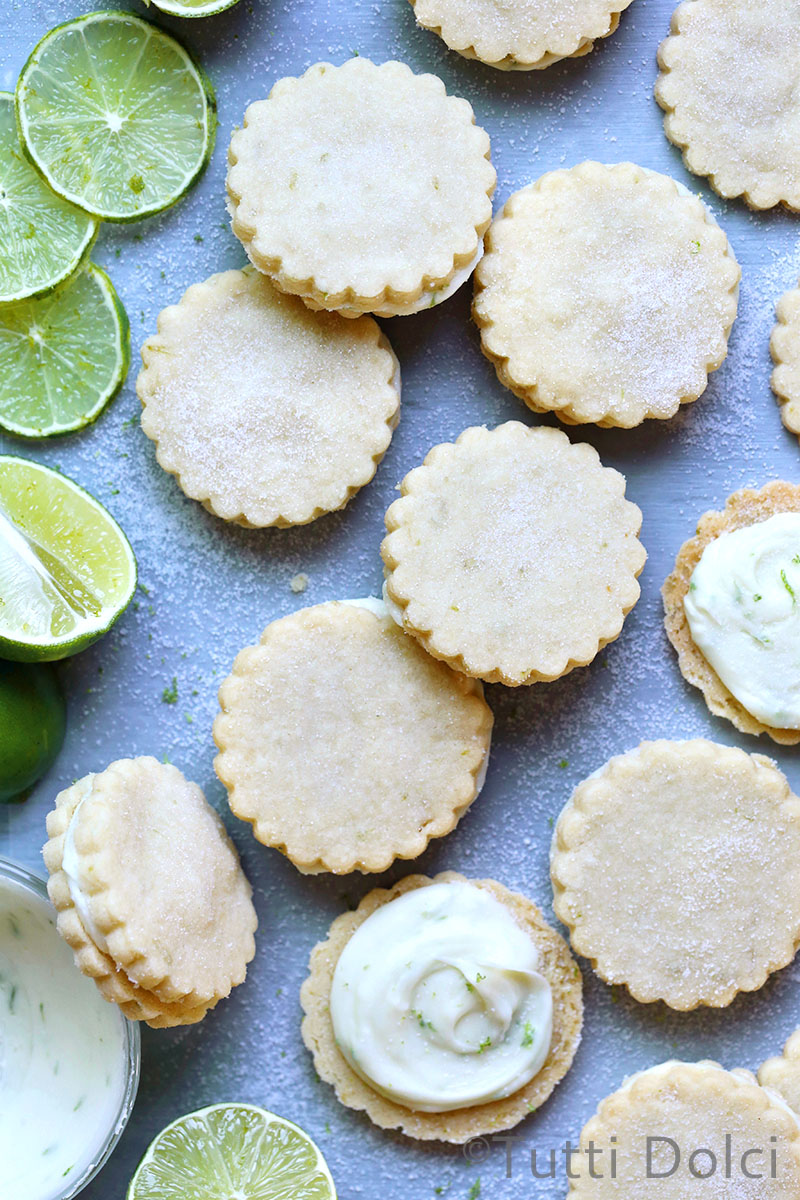 Lime Shortbread Sandwich Cookies