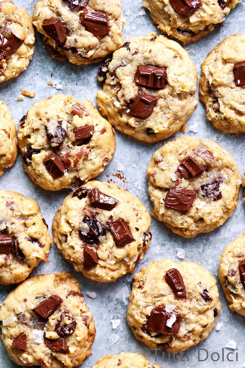 Chocolate Chunk Cherry Pecan Oatmeal Cookies