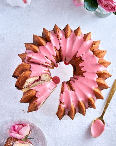 Strawberry Rhubarb Swirl Bundt Cake