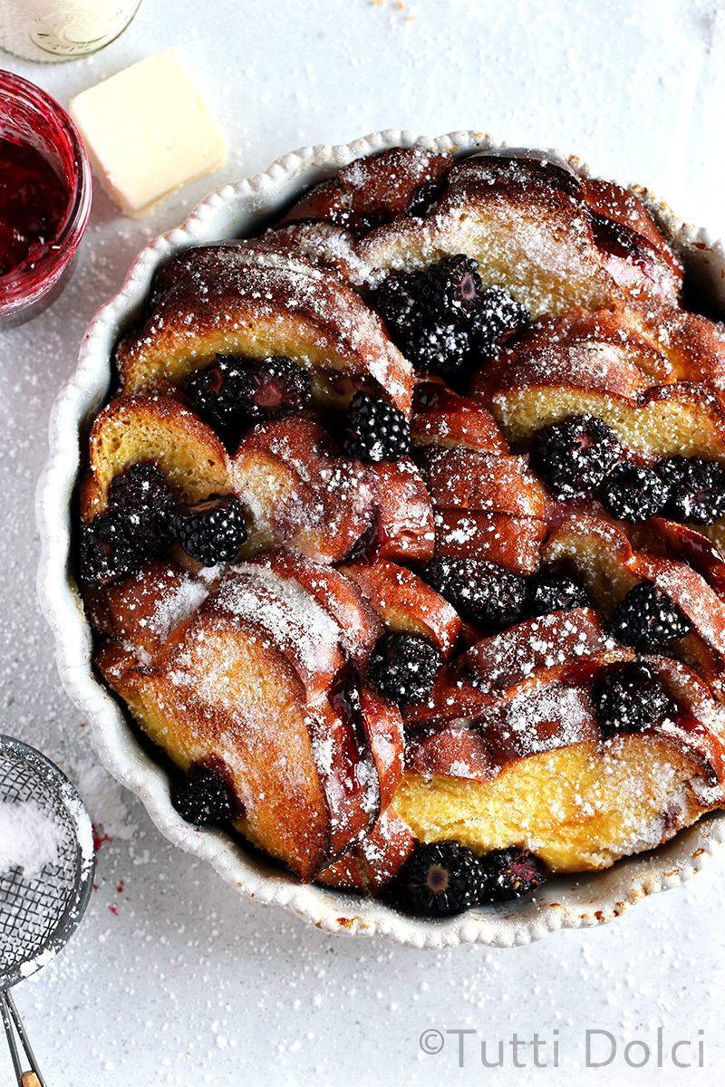 Baked Blackberry Mascarpone French Toast