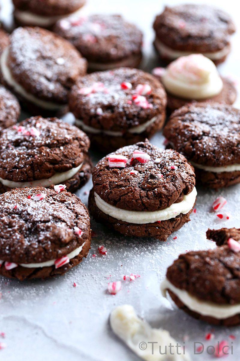 Peppermint Brownie Sandwich Cookies