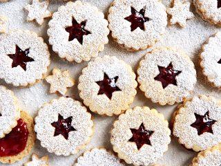 Raspberry Pecan Linzer Cookies