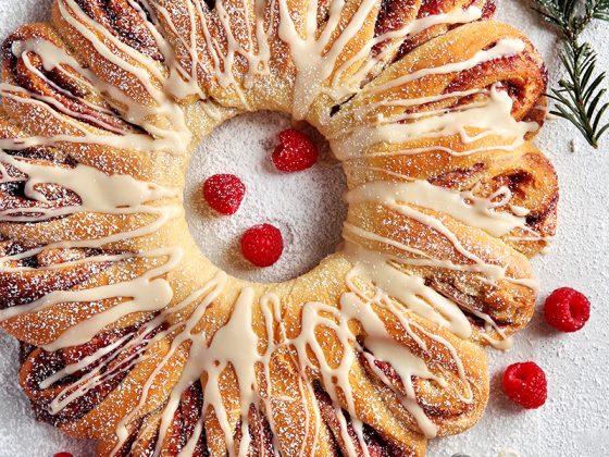 Raspberry Vanilla Wreath Bread